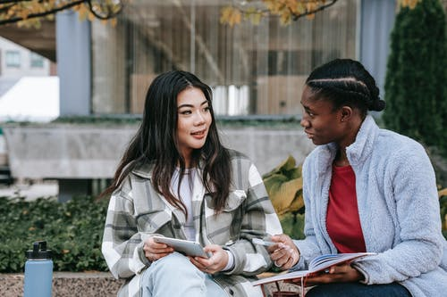 Attentive multiethnic girlfriends talking while studying on urban bench