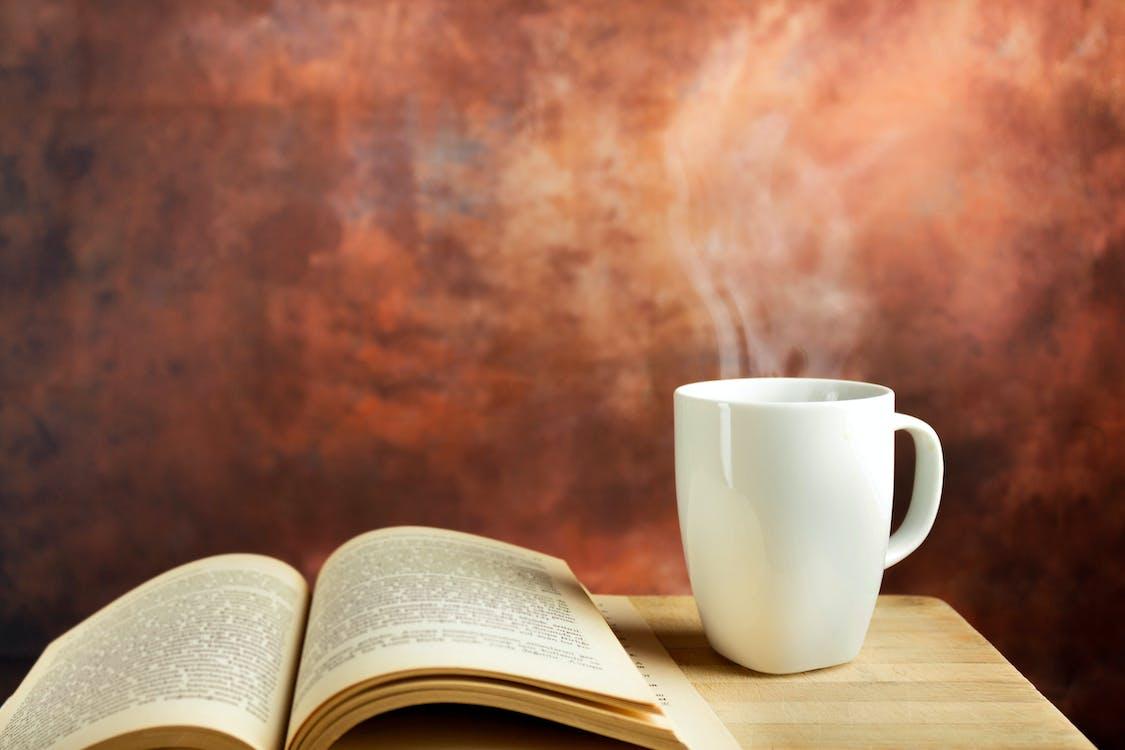 bar, čítanie, horúca káva