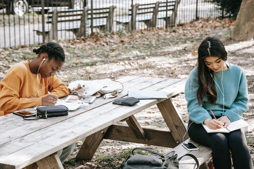 Concentrated young multiethnic women with earphones taking notes in diaries at wooden table on street