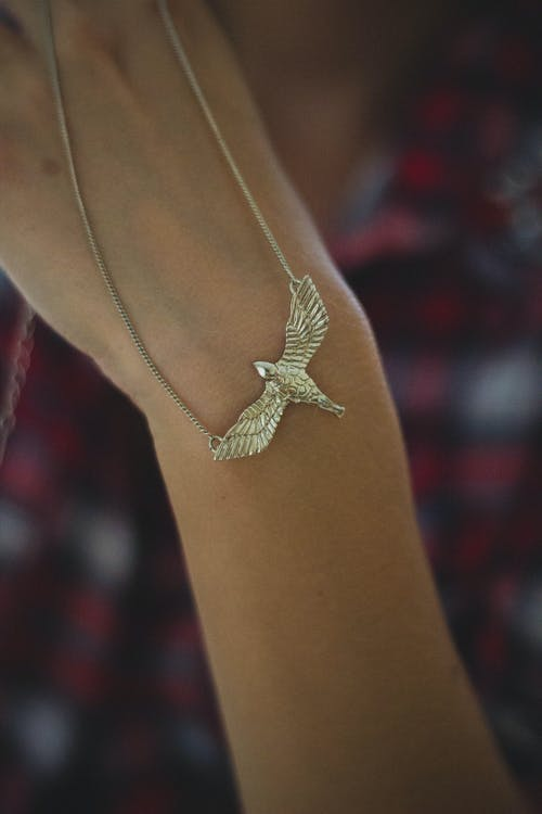 Person Holding Gold-colored Bird Pendant Necklace