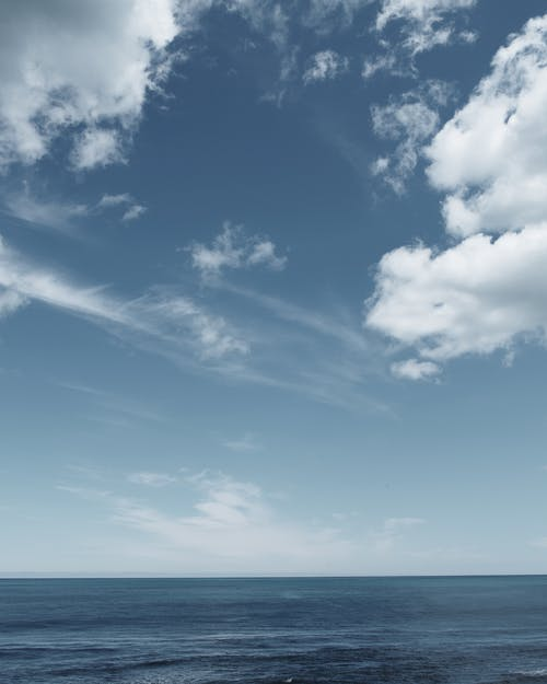 Calm seascape under clear blue sky
