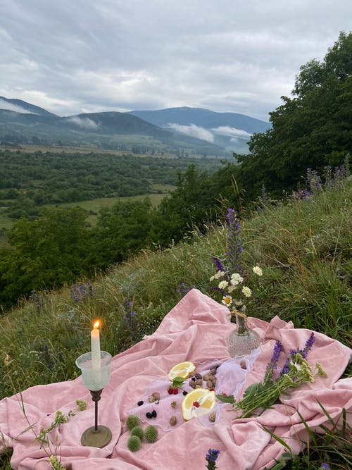 Pink covering with with candles and wildflowers placed on grassy slope of hill in nature with mountains in distance on summer