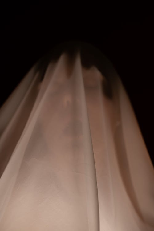 Portrait of spooky female with open mouth standing under white transparent cloth in dark room on black background during Halloween celebration