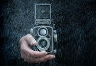 man, camera, dust