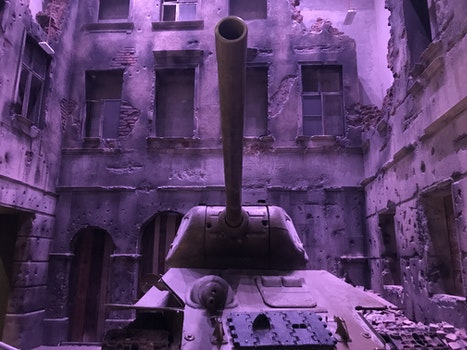 Battle Tank Near Concrete Structures
