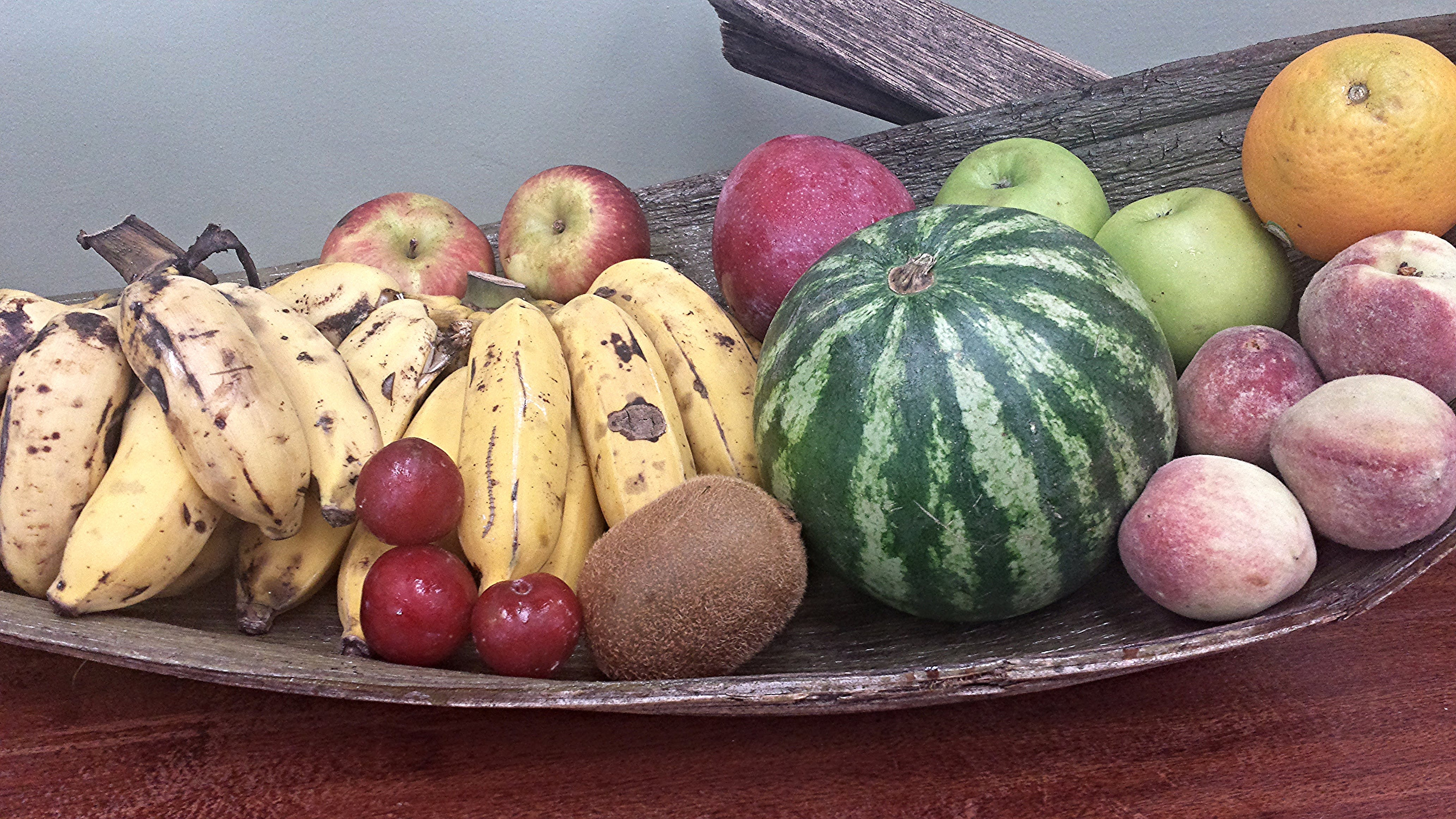 Banana, Watermelon, Peach, Apple, Orange, and Cherry Fruits on Wooden Basket