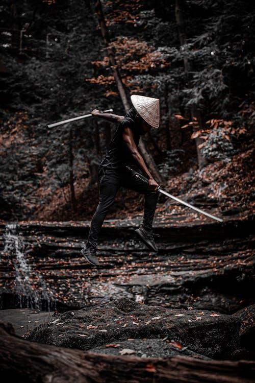 Samurai Holding His Sword Midair