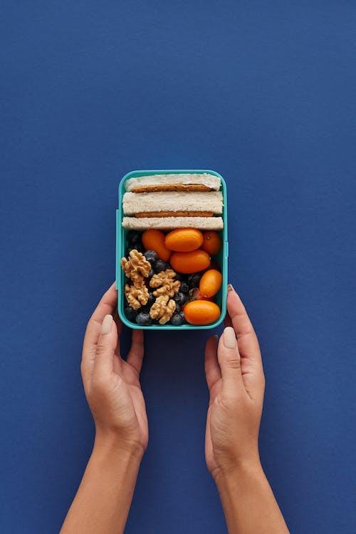 Person, Die Blauen Plastikbehälter Mit Braunem Und Weißem Essen Hält