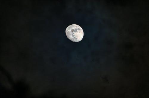 Shiny bright moon in dark sky