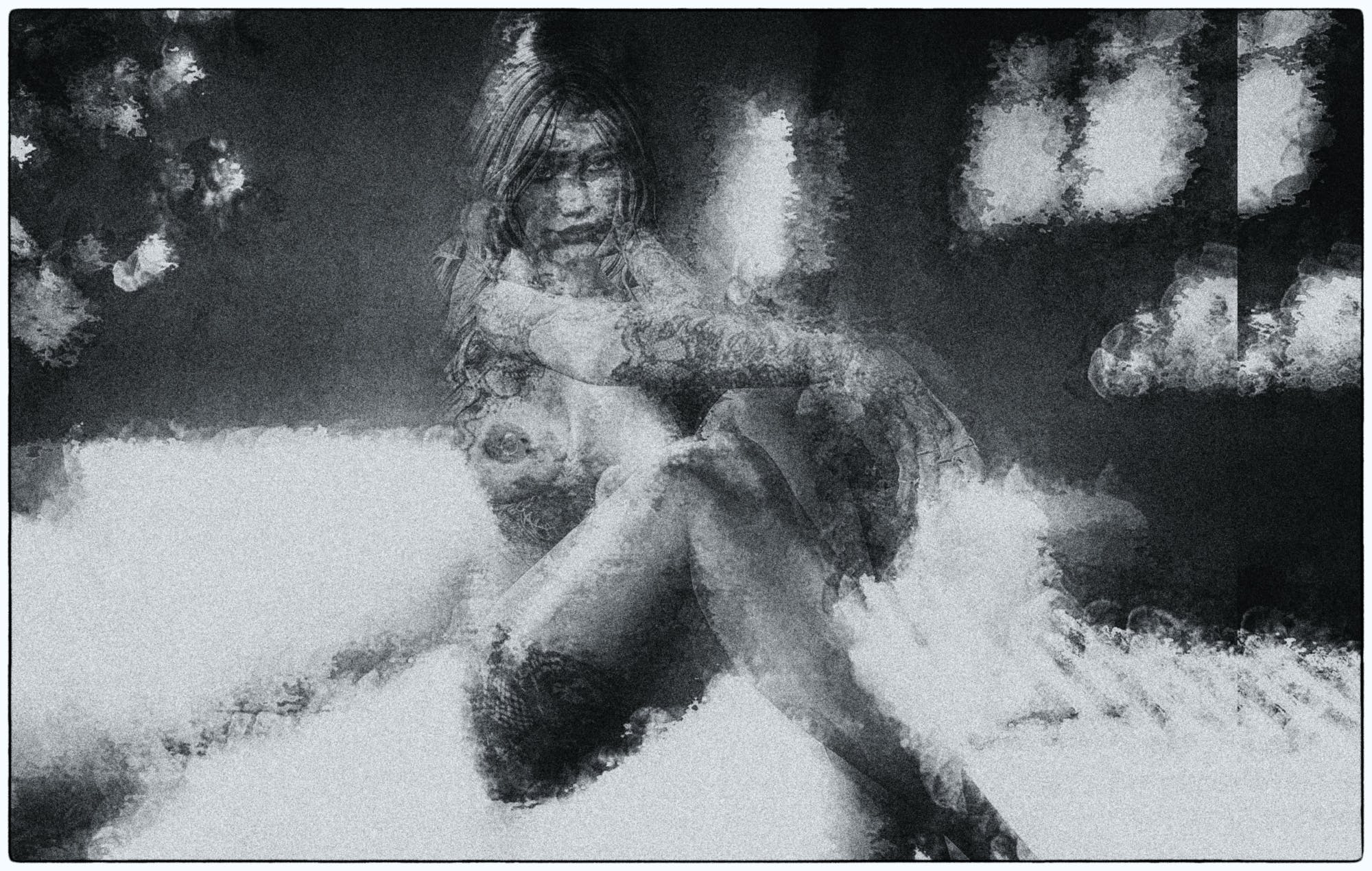 black and white, nude, woman