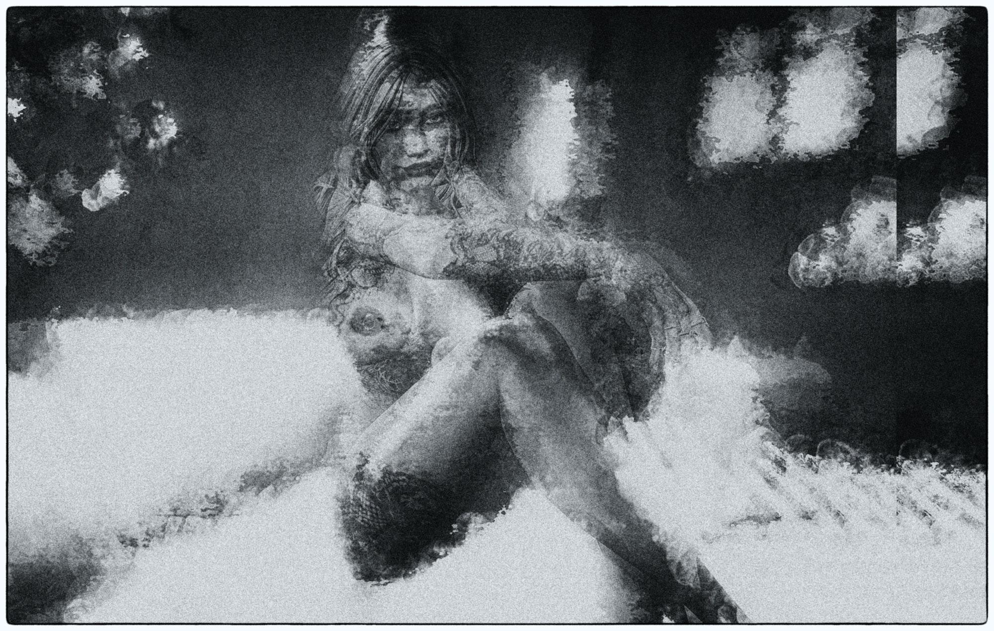 ヌード 女性 白黒の無料の写真素材