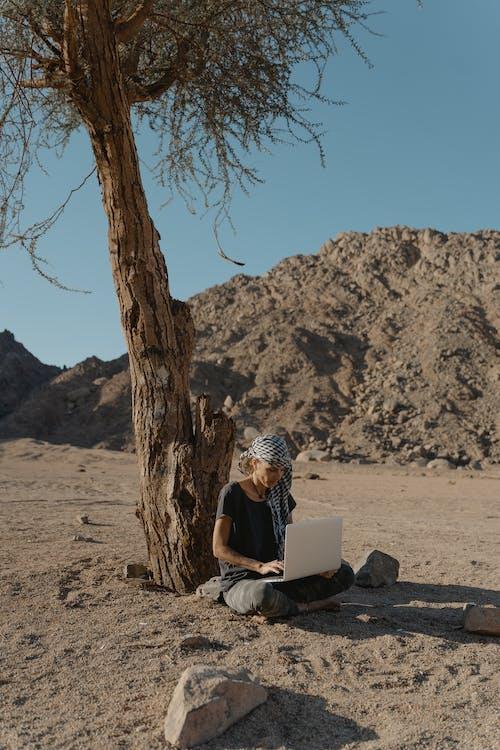 地面, 坐, 大石头 的 免费素材图片