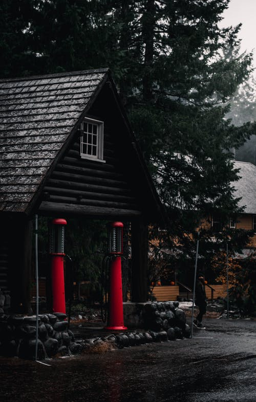 Red and Black Wooden Shed Near Trees