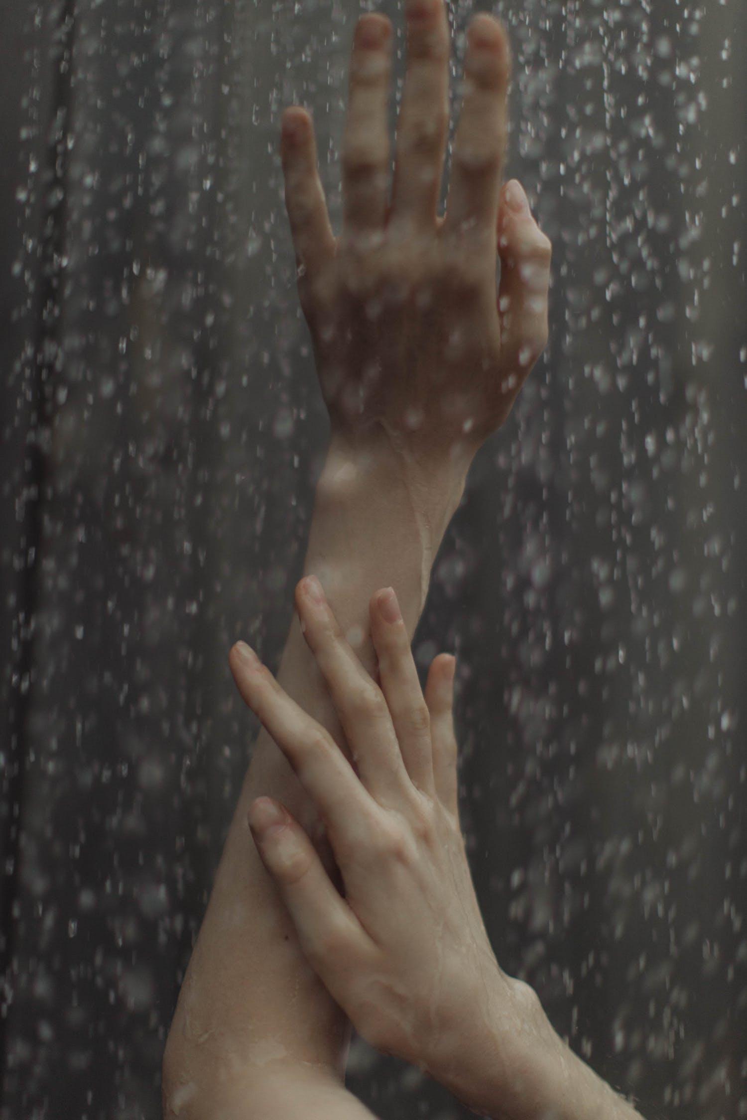 Close-Up Shot of Wet hands