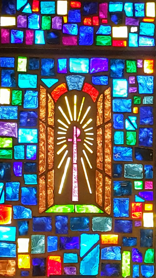 Free stock photo of church, cross, stained glass