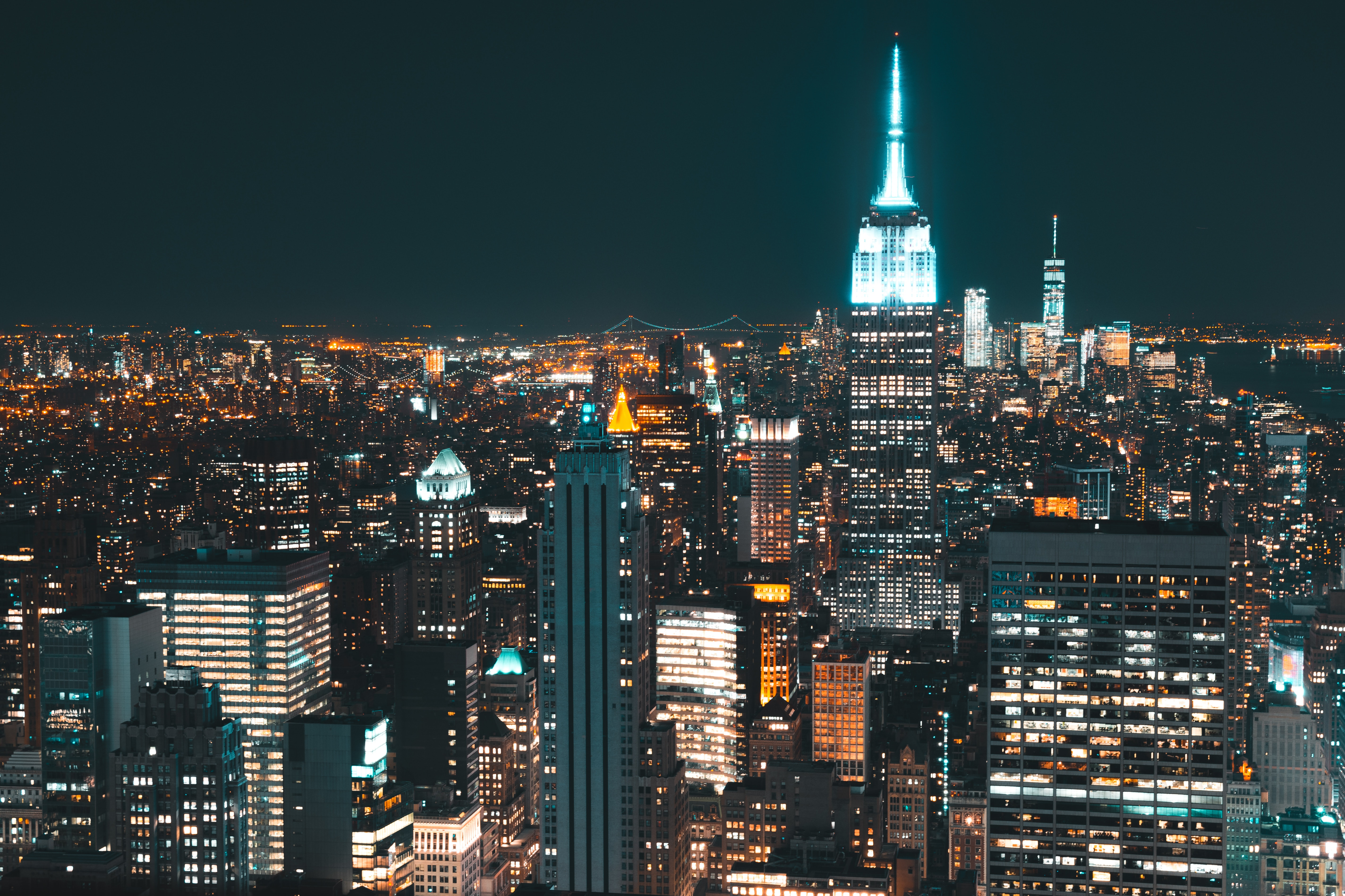 Lit Skyscrapers During Nighttime Free Stock Photo