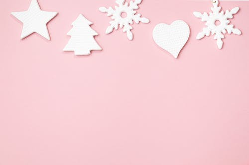 Pink and White Star and Hearts Illustration