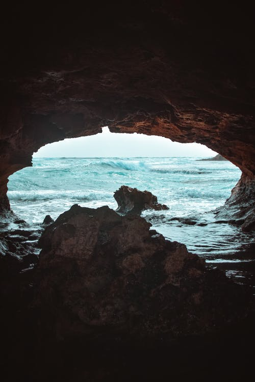 Brown Cave Near Sea