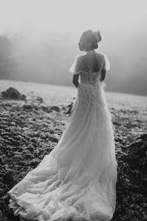 Black and white back view of beautiful bride in white dress standing on grassy ground near forest and looking away