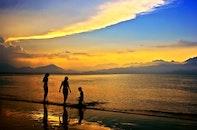 sea, dawn, mountains