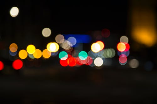 Blurred bright lights at dark night