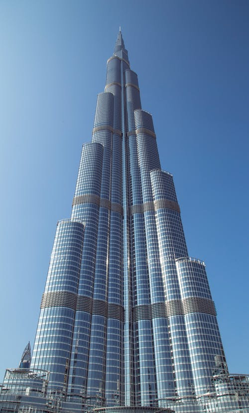 Majestic Burj Khalifa tower against blue sky