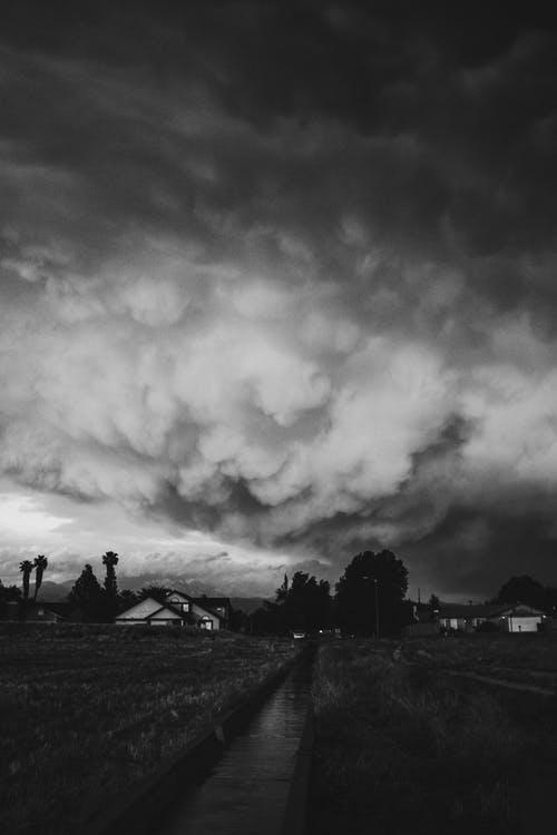 Grayscale Photo of a Cloudy Sky