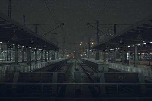 Railroad station in night time