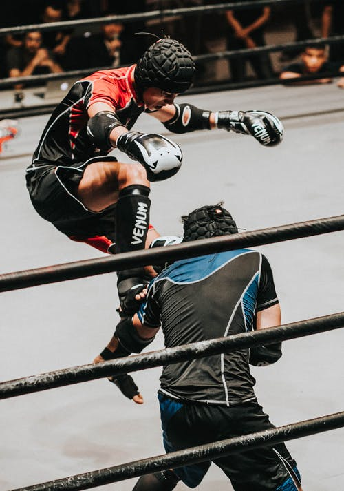 Fighter Doing Flying Kick