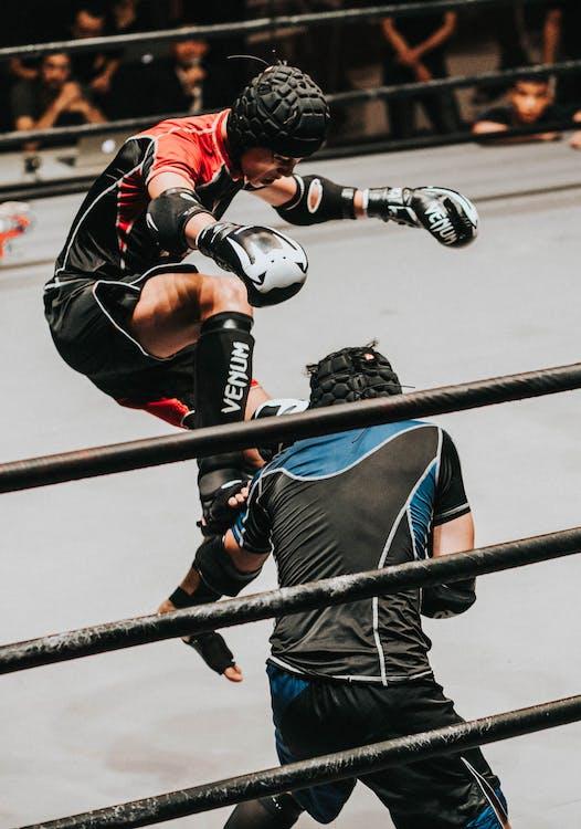 Fighter Doing Flying Kick