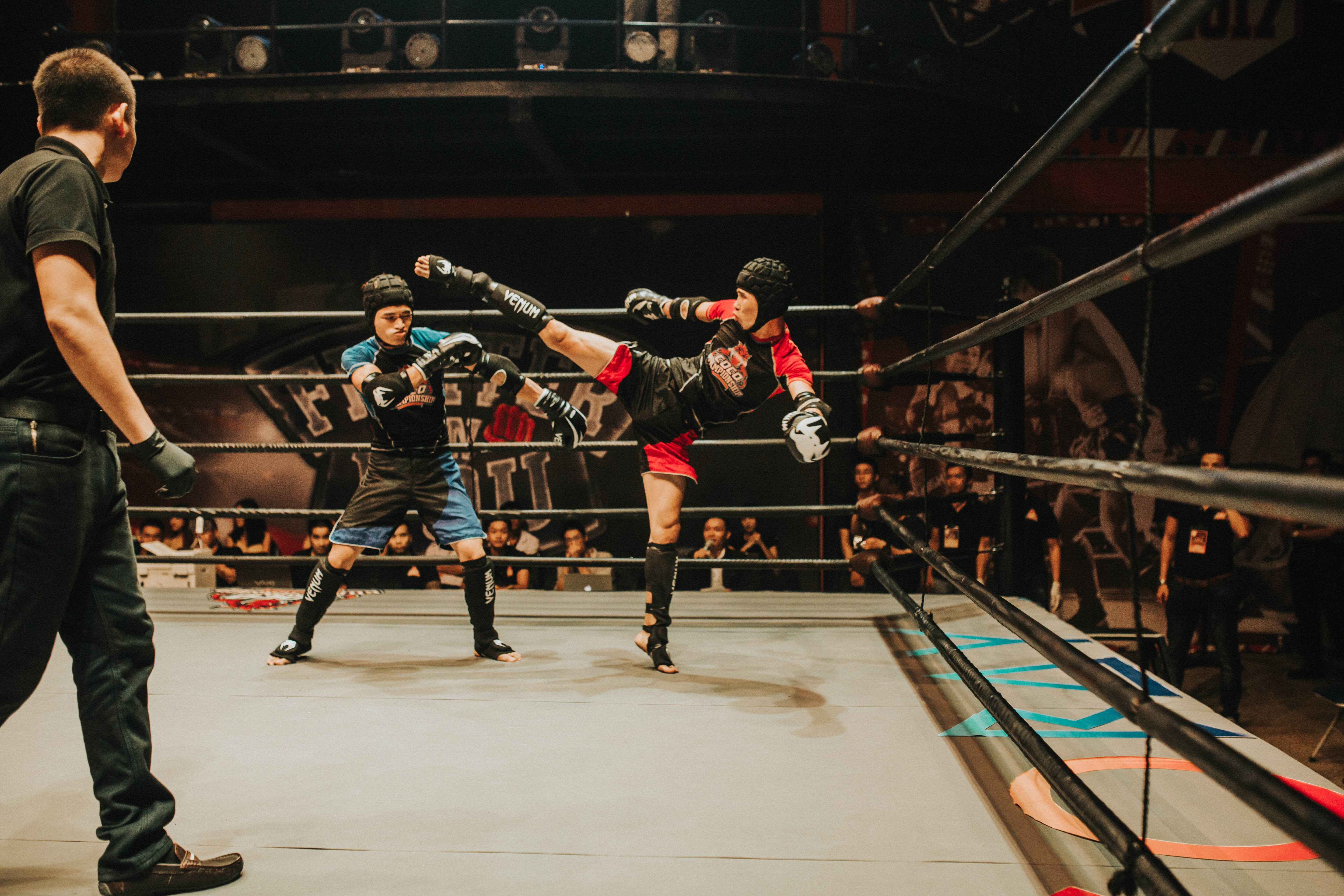 Two Contestant Doing Kick Boxing Match