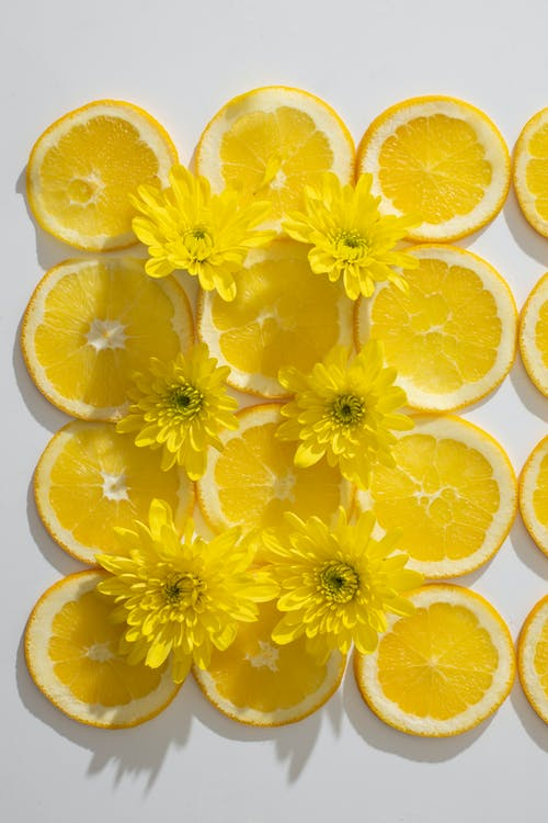 Composition of orange slices and flowers