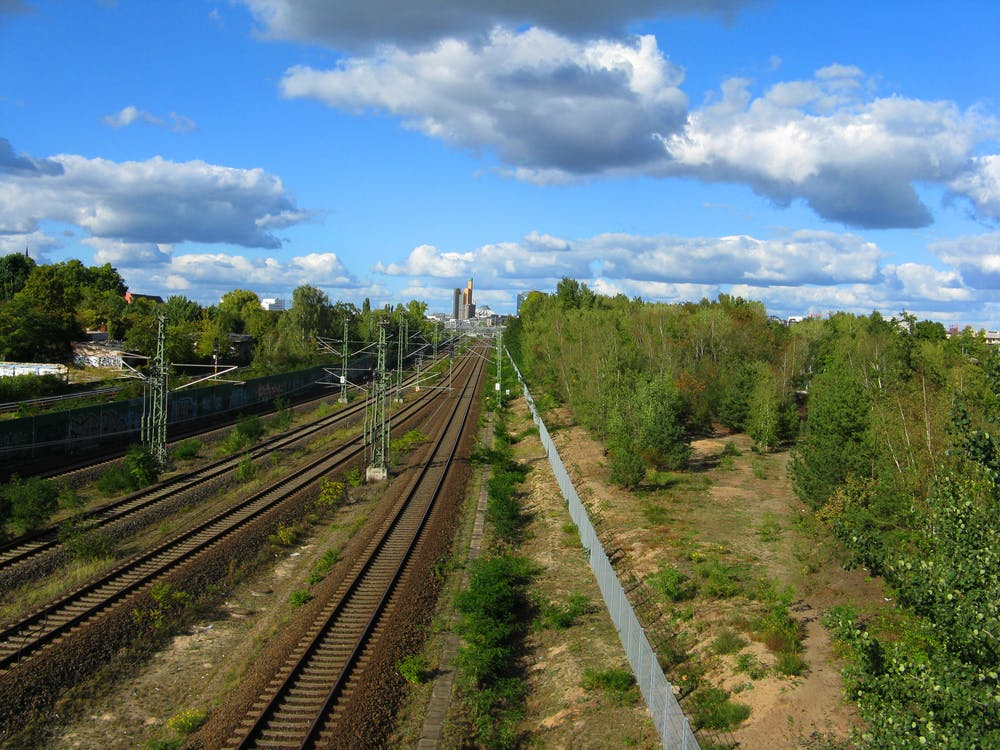 Free stock photo of railway line sky trees