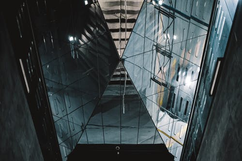 Black Glass Walled Building Interior