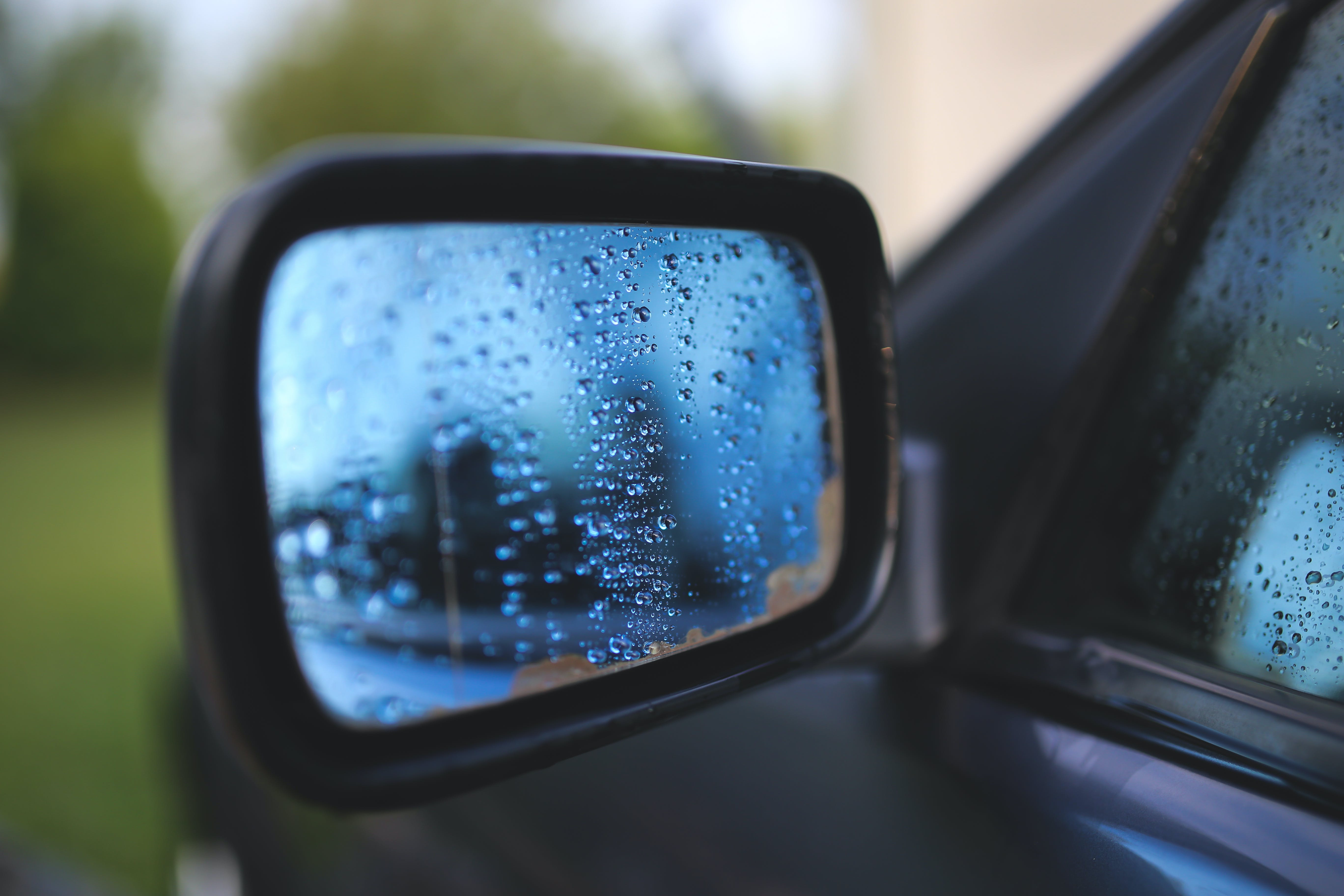 Drops on a car mirror