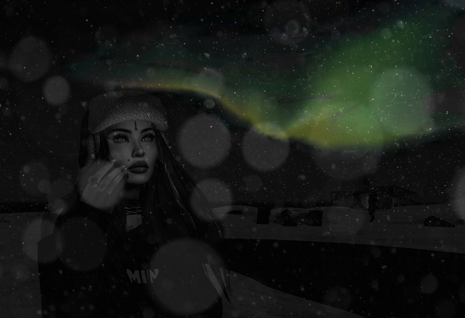 aurora borealis, portrait, woman