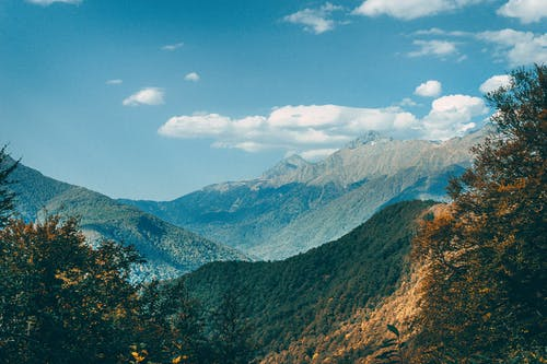 Mountain ridge with lush green vegetation