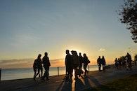 sky, sunset, people