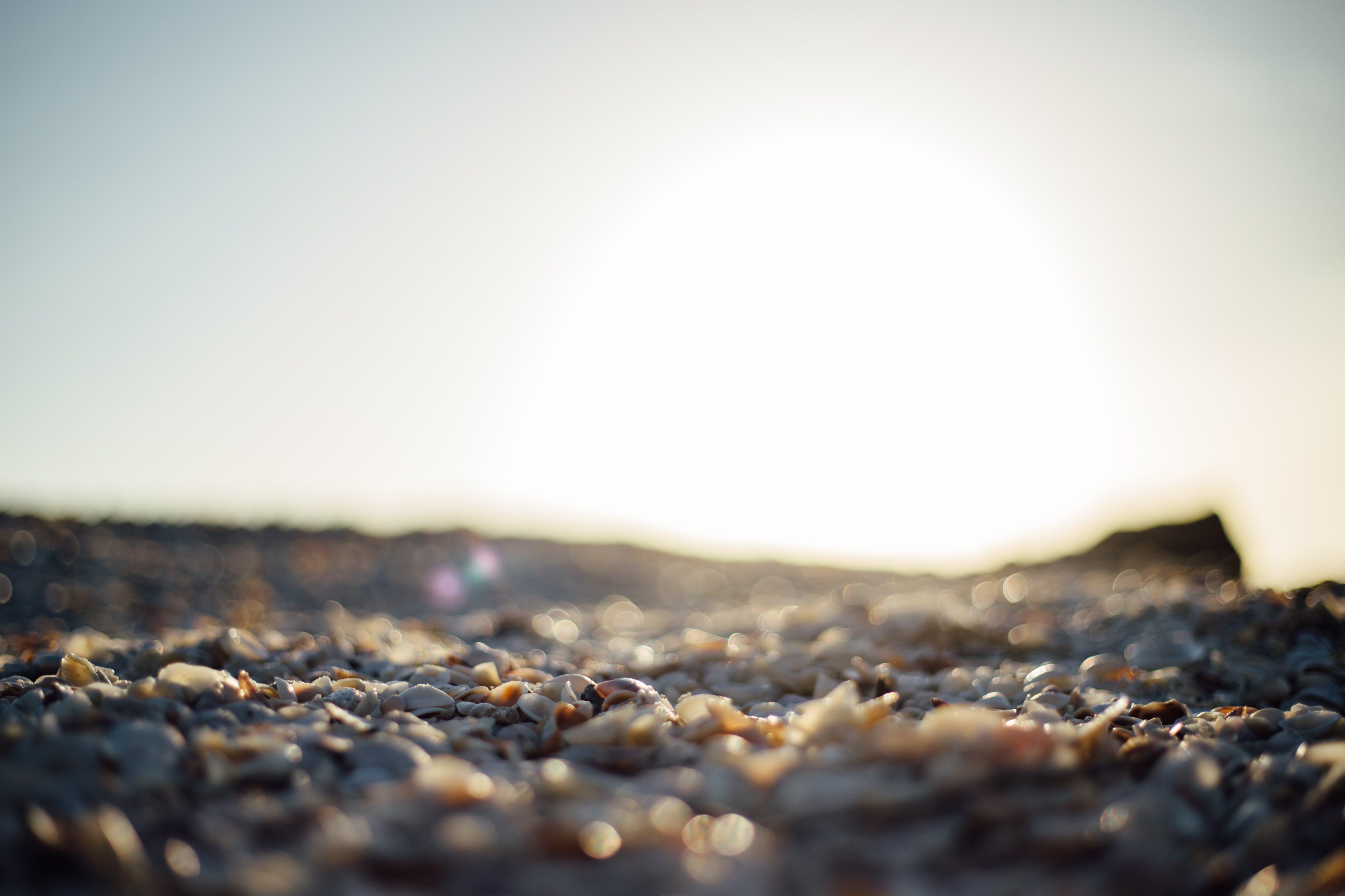 çakıl Taşları, deniz kıyısı, gün batımı, Güneş içeren Ücretsiz stok fotoğraf