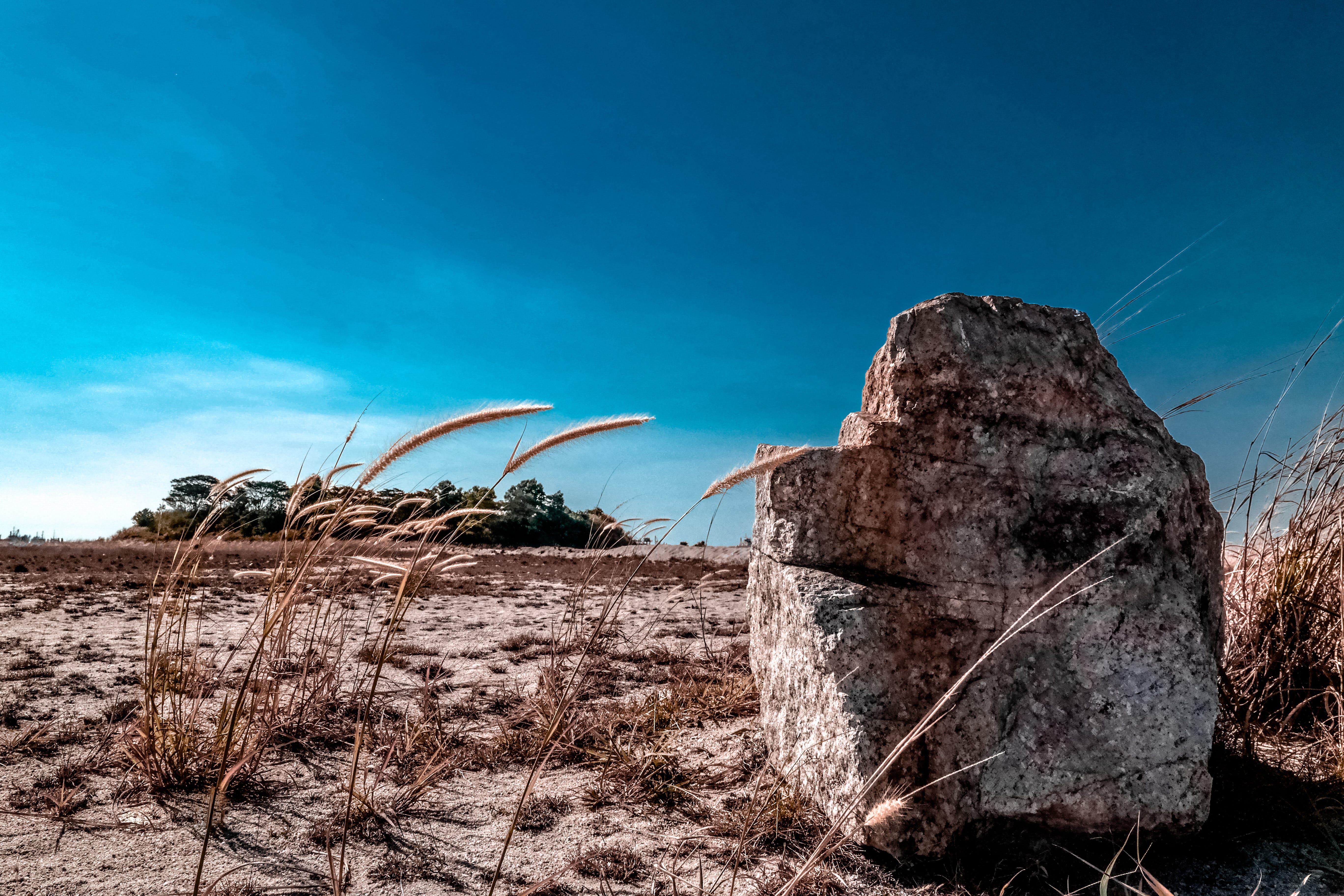 Brown Stone Under Blue Sky
