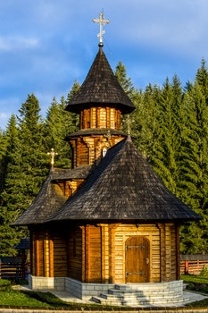 Black Roofed Wooden Chapel