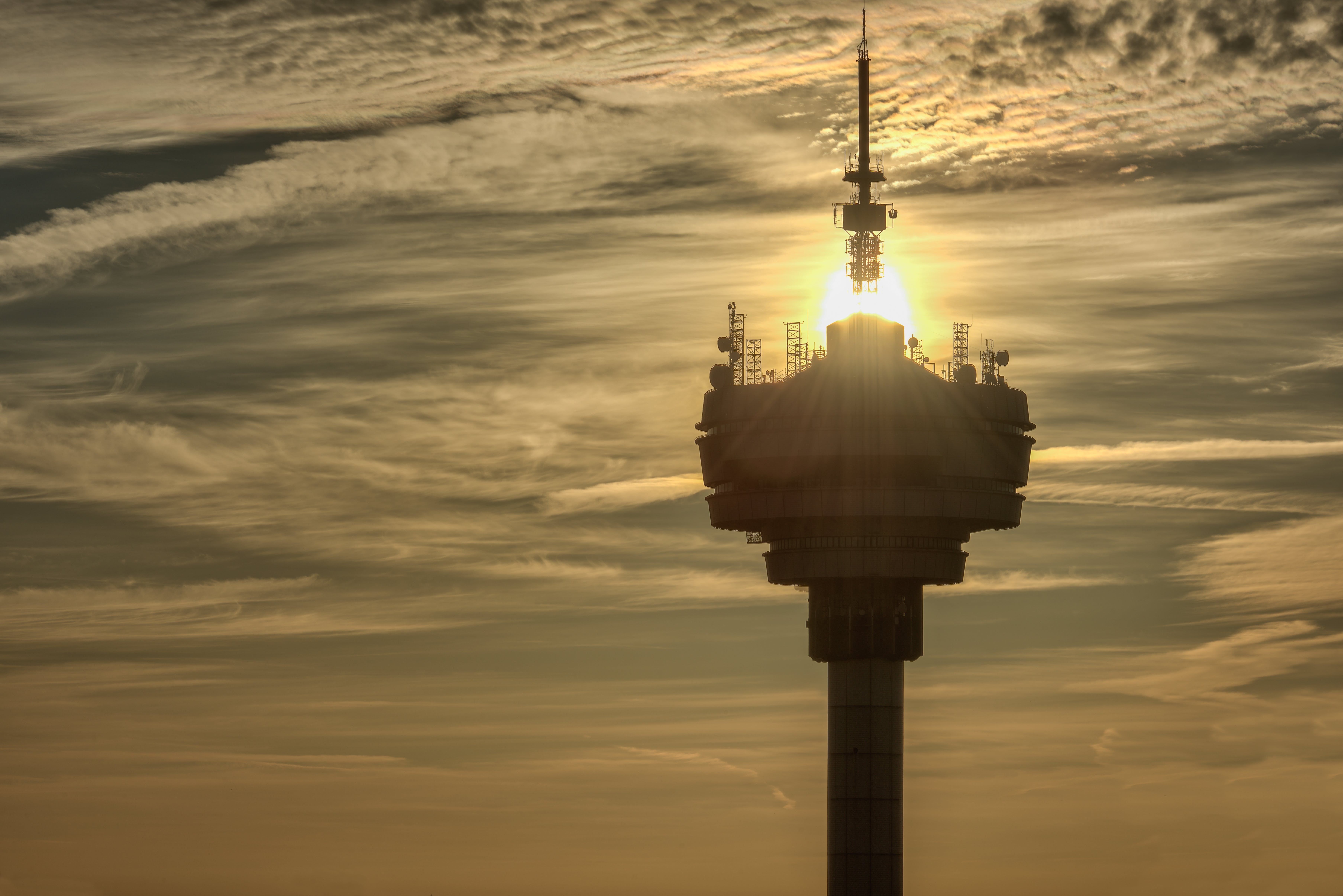 Free stock photo of cloudy sky, golden sun, television tower