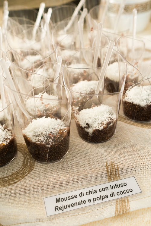 Mousse with Chia Seeds on Tablecloth
