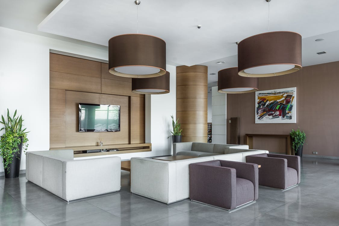 Spacious living room in modern apartment