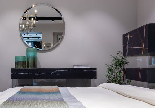 Interior of bedroom with mirror