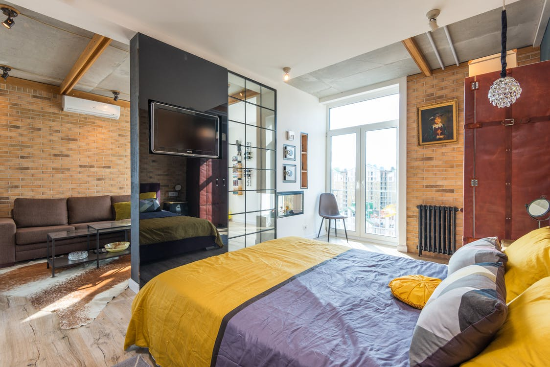 Interior of modern bedroom in apartment