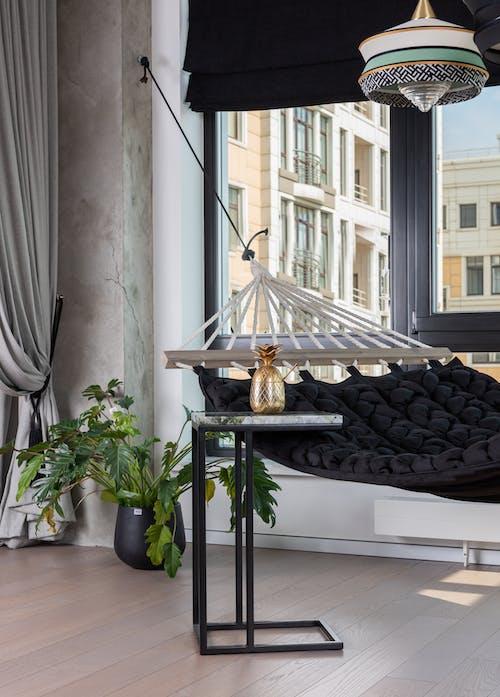 Cozy room with hammock near window
