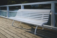 bench, pier, white