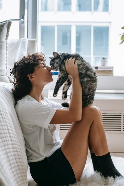 Charming woman kissing cute cat in bedroom