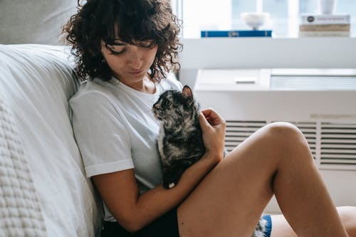 Side view of crop young female with curly hair in casual clothes hugging and stroking adorable purebred cat while relaxing at home